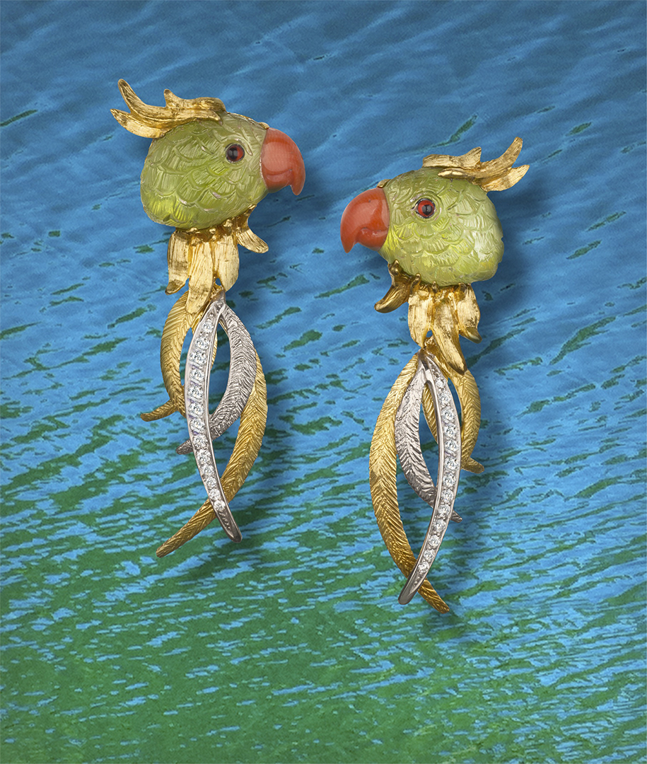18-karat yellow gold and palladium earrings featuring handcarved Parrots from natural Peridot and Coral