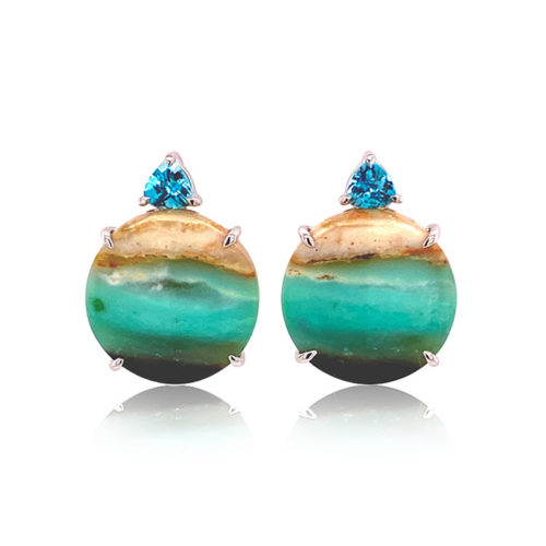Gia Earring with Opalized Wood and Blue Zircon