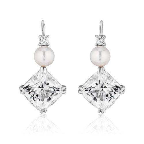 Triple Drop White topaz, Pearl and Diamond Swan Neck Earrings