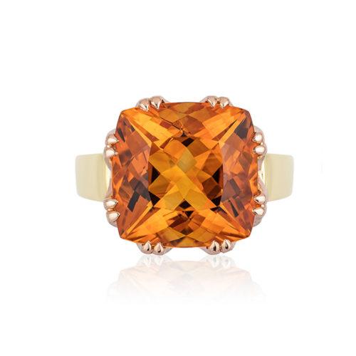 "This ""Trellis"" ring features a 5.0 carats Citrine (10.4 mm cushion-cut) set in 18 karat rose gold basket with 18 karat yellow gold shank"