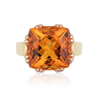 "This ""Trellis"" ring features a 5.0 carats Citrine (10.4 mm cushion-cut) set in 18 karat rose gold basket with 18 karat yellow gold shank"