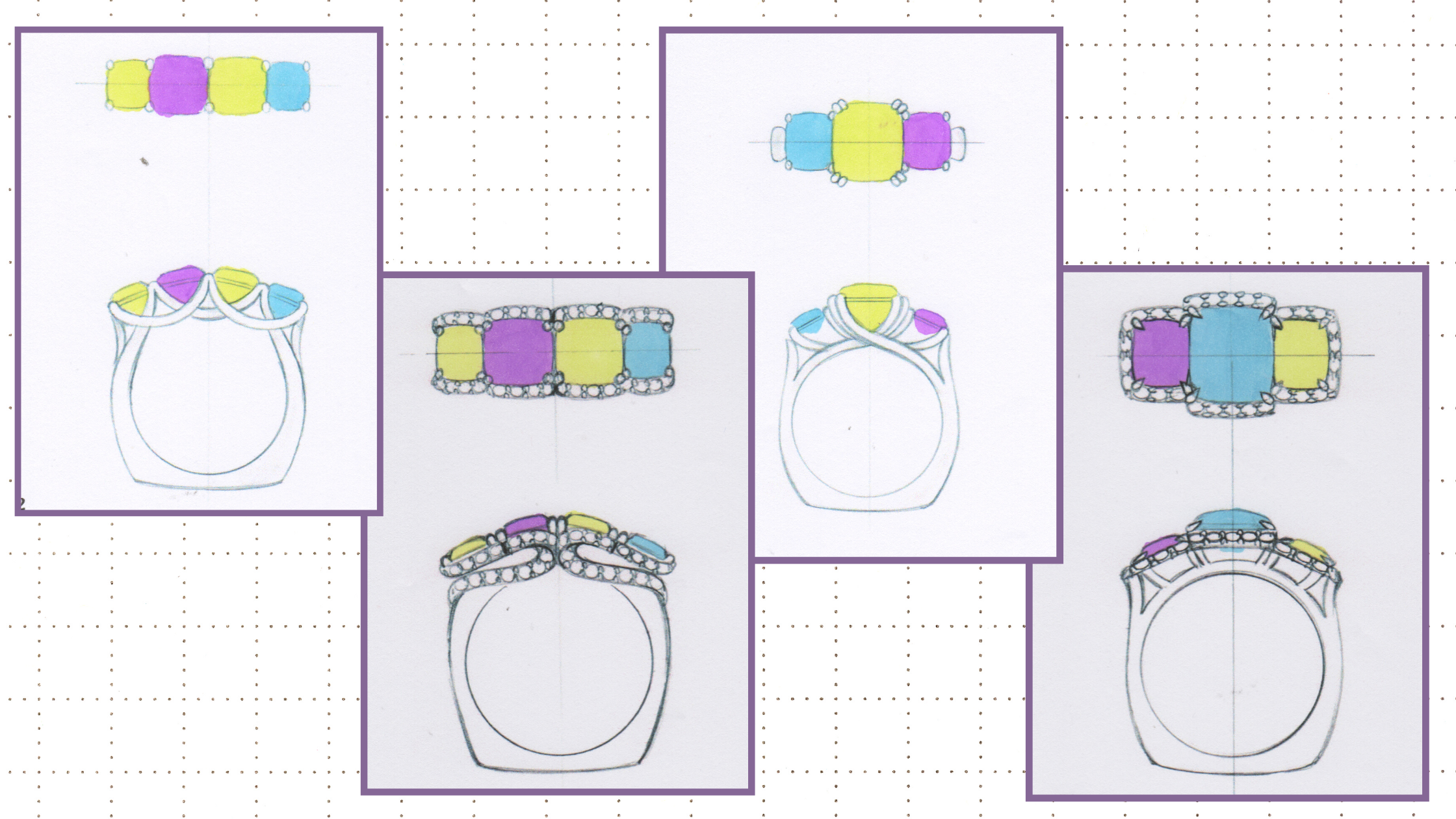 Three and four-stone ring design options