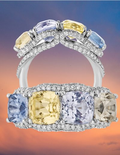 """""""Long Distance Legacy"""" Cynthia Renee Full Custom Design Ring in 18-karat """"super"""" white gold featuring four sapphires weighing 8.33 carats wrapped with a ribbon of 150 diamonds total of 1.05 carats."""