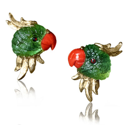 """""""Joy"""" earrings in 18-karat yellow gold featuring hand-carved Peridot parrots with Coral beaks."""