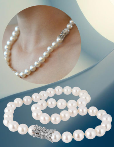 """""""Not so Innocent"""" Cynthia Renee Full Custom pearl clasp for client's South Sea pearls crafted in 18 karat white gold accented by 2.76 carats of diamonds."""