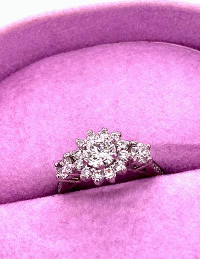 """Love Forever"" Cynthia Renee Full Custom Design Engagement Ring in 950-platinum featuring 0.99 carats of diamond."