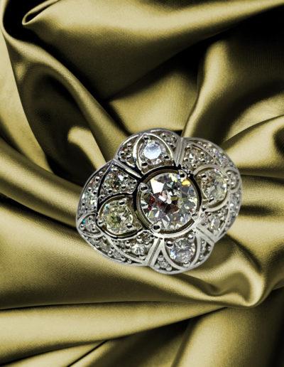 """New Old Favorite"" Cynthia Renee Full Custom Design Ring featuring client's heirloom diamonds in 14-karat white gold."