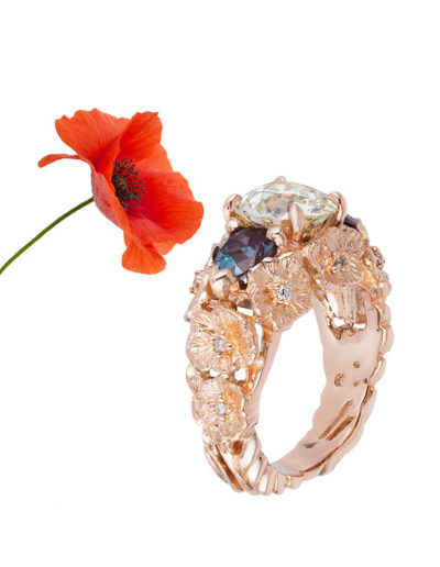 """""""Wild Poppies"""" Cynthia Renee Full Custom design ring in 14 karat rose gold featuring client's Old European diamond and synthetic alexandrites."""