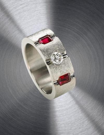 """Que Guapo!"" Cynthia Renee ~ Full Custom Design Ring featuring Vietnamese rubies and customer's diamond set in palladium."