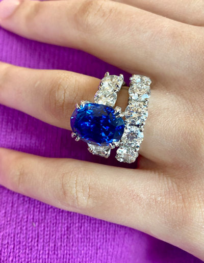 """""""Bright Baby Blue"""" ~ Cynthia Renee Full Custom Design platinum wedding set featuring engagement ring of 11.42 carat Blue Sapphire and 2.86 carats of diamonds and an extraordinary eternity band featuring 8.50 carats of diamonds."""