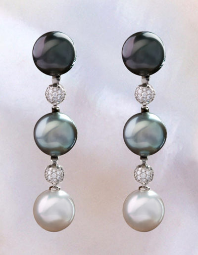 """""""Triple Drop Pearl"""" Cynthia Renee Full Custom Design Earring consisting of three pairs of 13 mm pearls: Tahitian Black, Tahitian Grey and Australian White with 1.74 carats of diamond accent, set in palladium, 18 karat white gold; pearls are removable and can be worn with a variety of Cynthia Renee Progressive Pearls interchangeable components."""