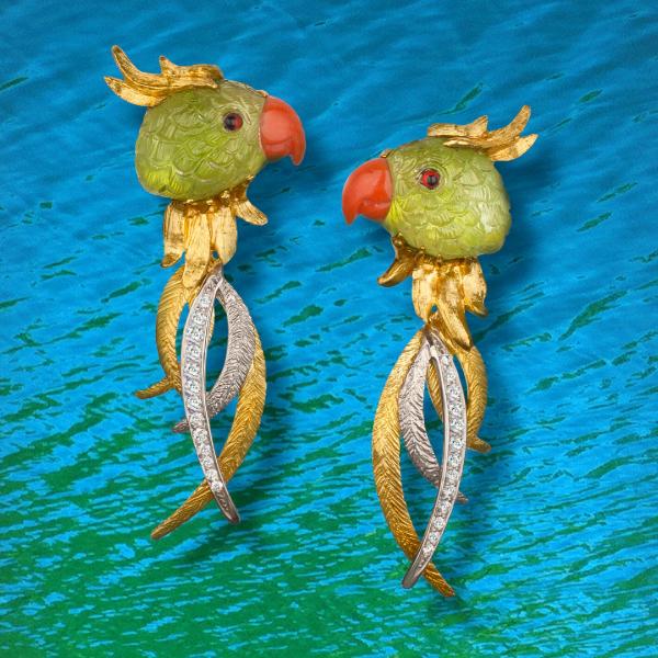 """Joy"" Peridot Parrot Earrings."