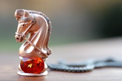 Checkmate - Cynthia Renee's custom designed pendant - Spessarite Garnet and rose gold.