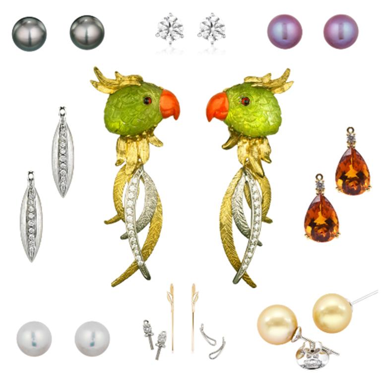 """Joy"" Peridot Parrot Earrings and combinations."