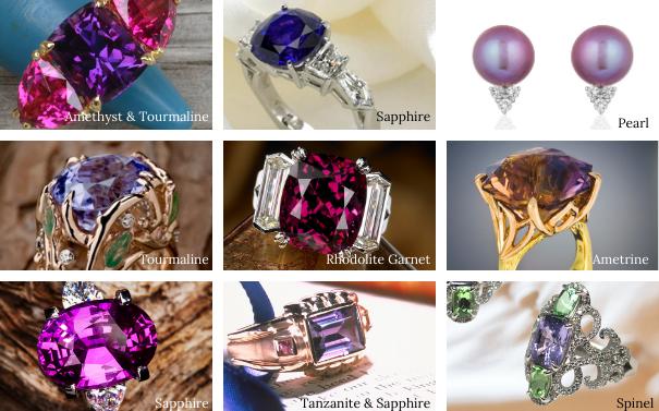 Gemstones in purple hues