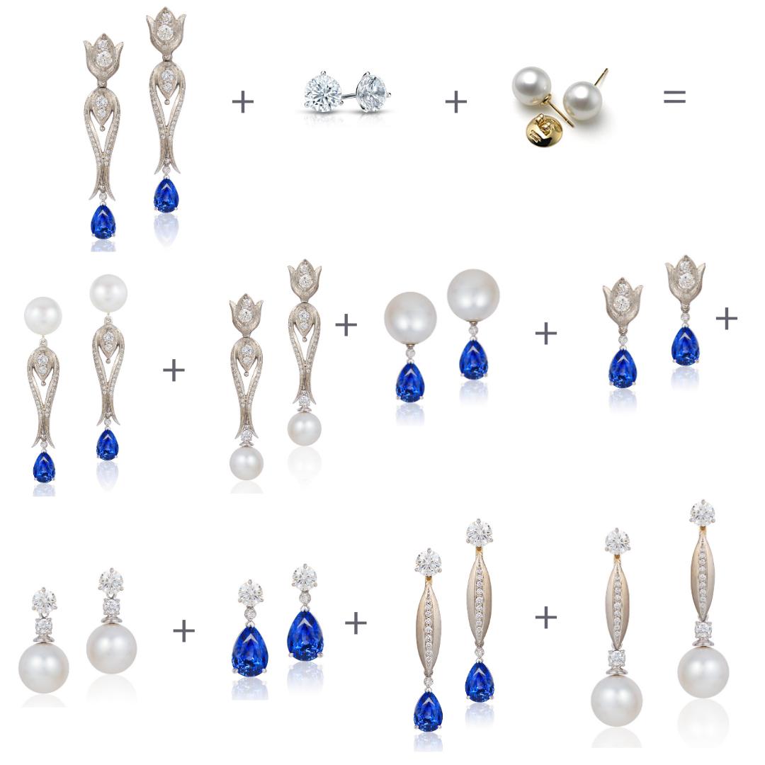 Cynthia Renée Progressive Pairs - Blue Sapphire Earrings
