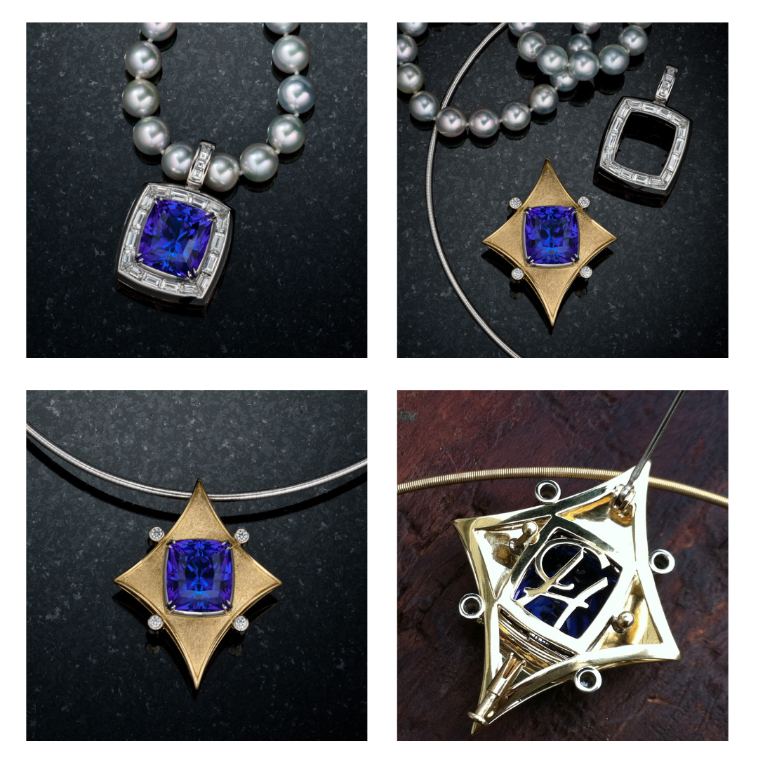 """18 carat Tanzanite in a diamond baguette pendant and the yellow gold """"God's Eye"""" pendant"""