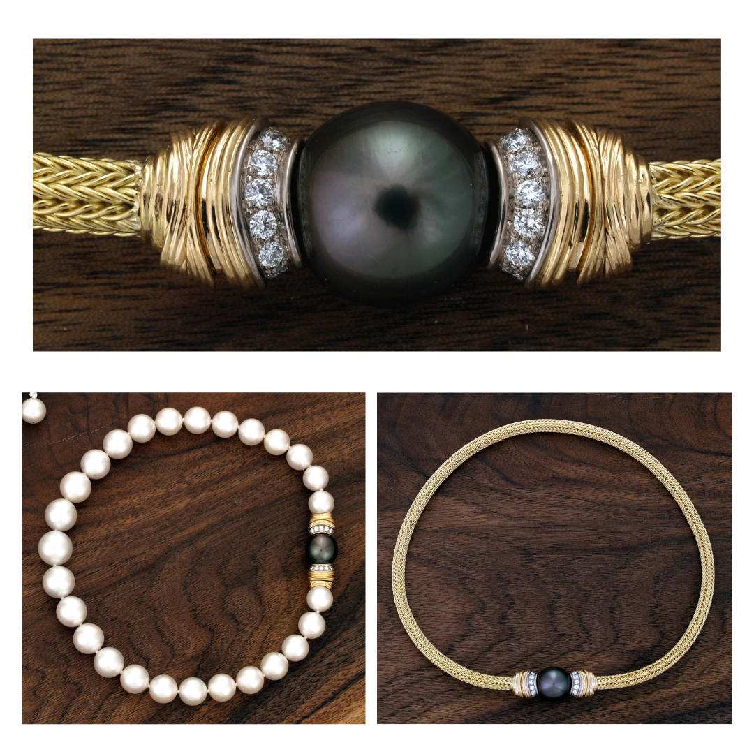 Black Pearl and Diamond center can vibe worn as a pearl clasp or as center piece of a gold collar.