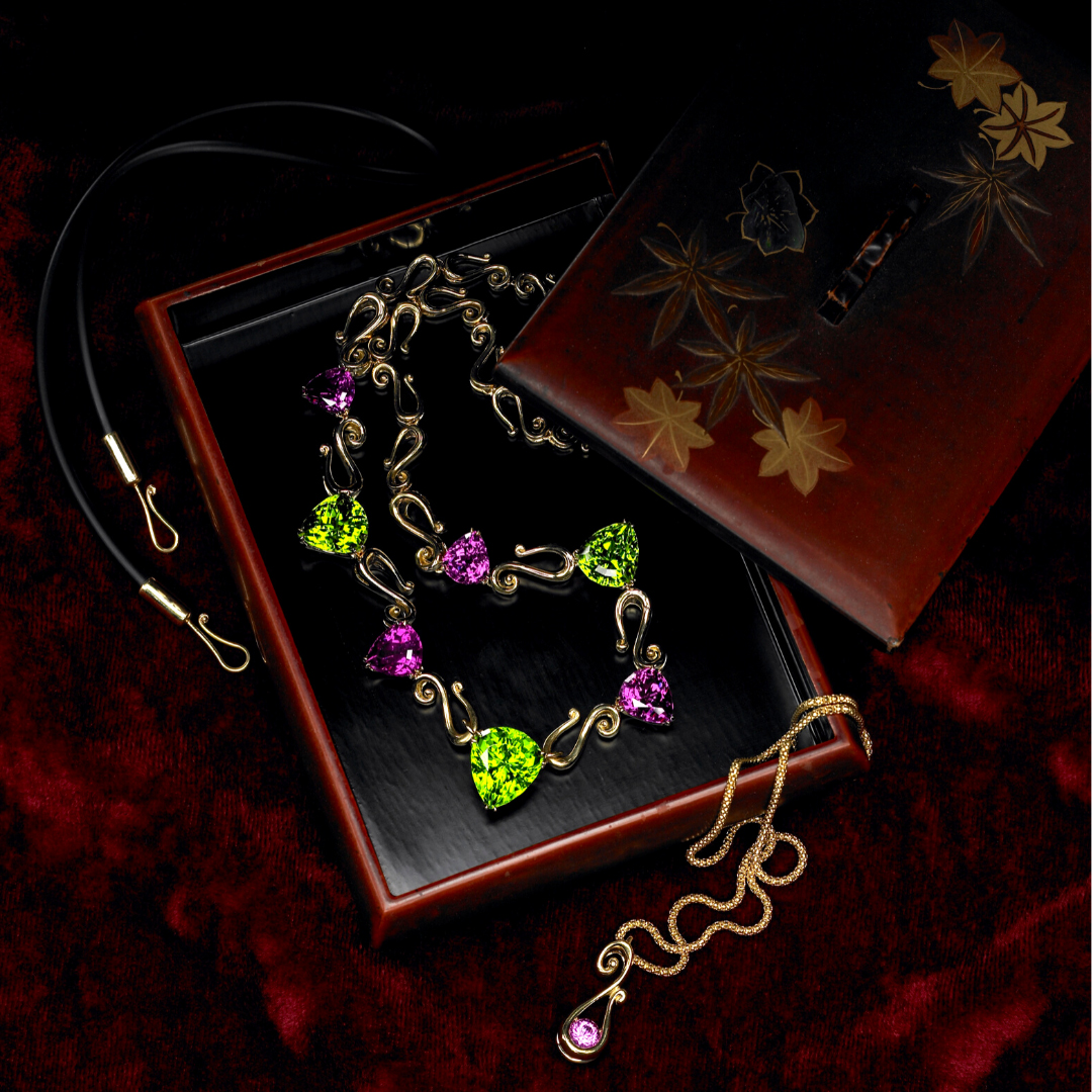 "Cynthia Renée ""Orchid"" necklace featuring 55.05 carat suite of Peridot (Pakistan) and Rhodolite Garnet (Tanzania) set in 18-karat yellow gold."