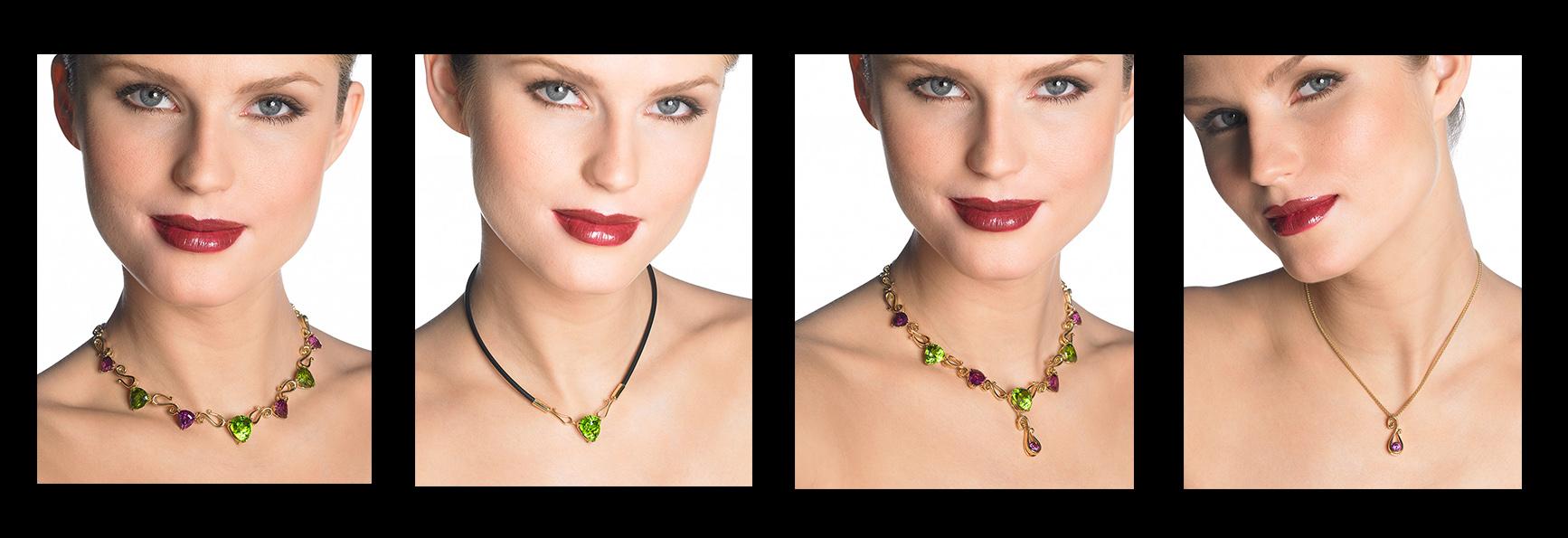 Cynthia Renée's custom Orchid Necklace: Peridot, Rhodolite Garnet and yellow gold.