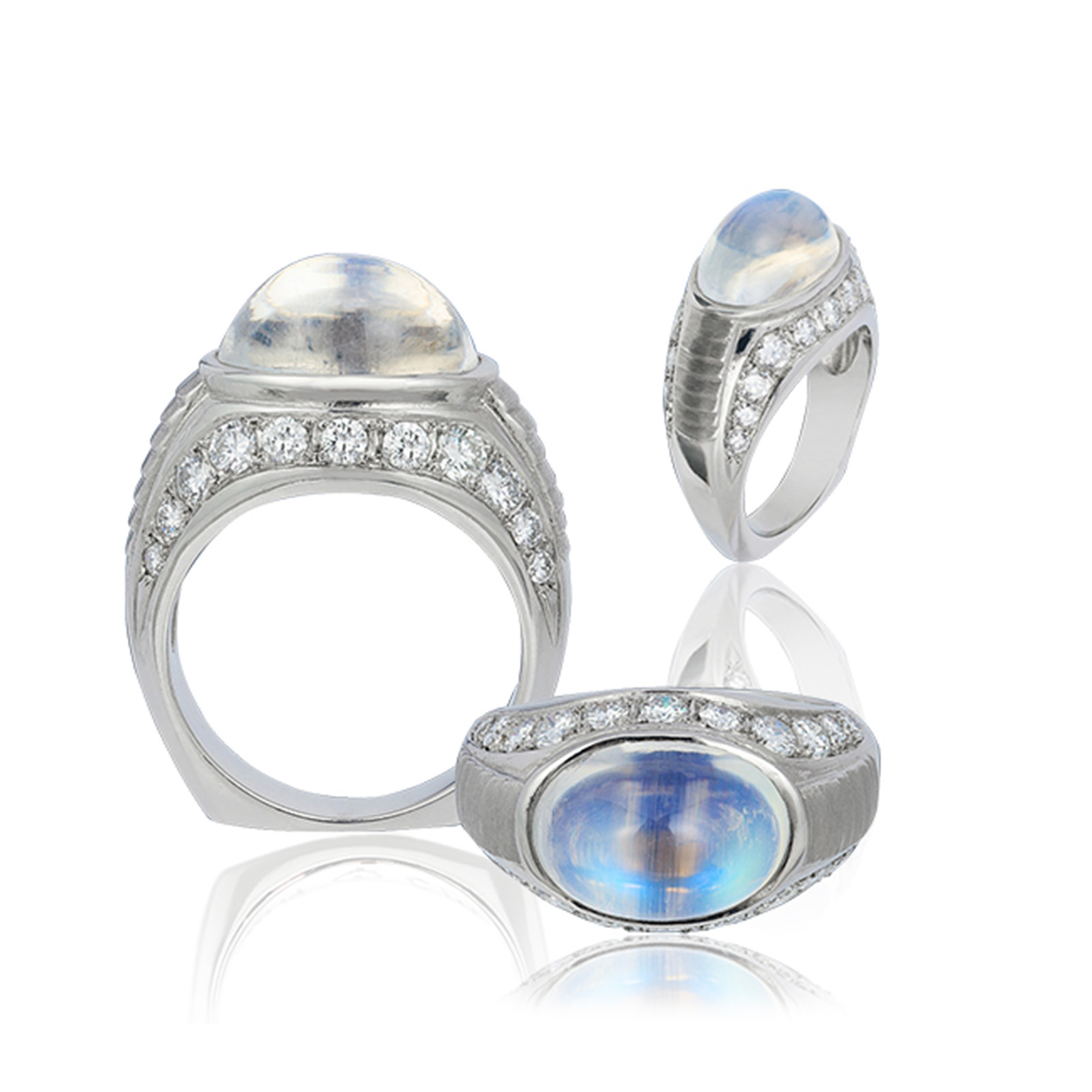 """""""Bella Blue"""" ~ Cynthia Renée full custom design platinum ring featuring 6.76 carat """"blue sheen"""" moonstone (India, natural color) accented by 11 round diamonds weighing a total of 1.05 carats."""