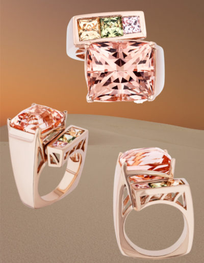 """""""Architectural Ring"""" ~ Cynthia Renée Full Custom Design Ring featuring custom-cut 16.65 carat Morganite accented by 5 mm princess-cut Yellow and Green Sapphire and 4 mm princess cut Pink Sapphire."""