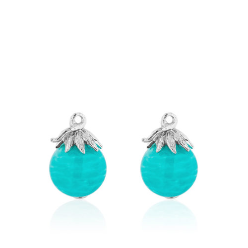Berry Bead Gem Drop Pair in 18 karat white gold with a 12 mm Amazonite bead.