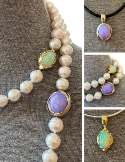 """""""Synergy"""" ~ Cynthia Renée Full Custom Design Clasps/Pendants in 18 karat white and yellow gold featuring 26.39 carat Lavender Jade and 7.96 carat Opal which can be worn as clasps in different configurations for client's 50"""" of pearls or individually as pendants. Pearls also break apart in different lengths for different types of wear."""